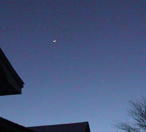 Twilight sky with moon and Venus