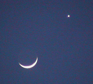 Moon and Venus at twilight: 6:30 pm CST