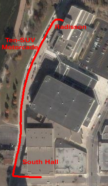 Route of McShame's motorcade