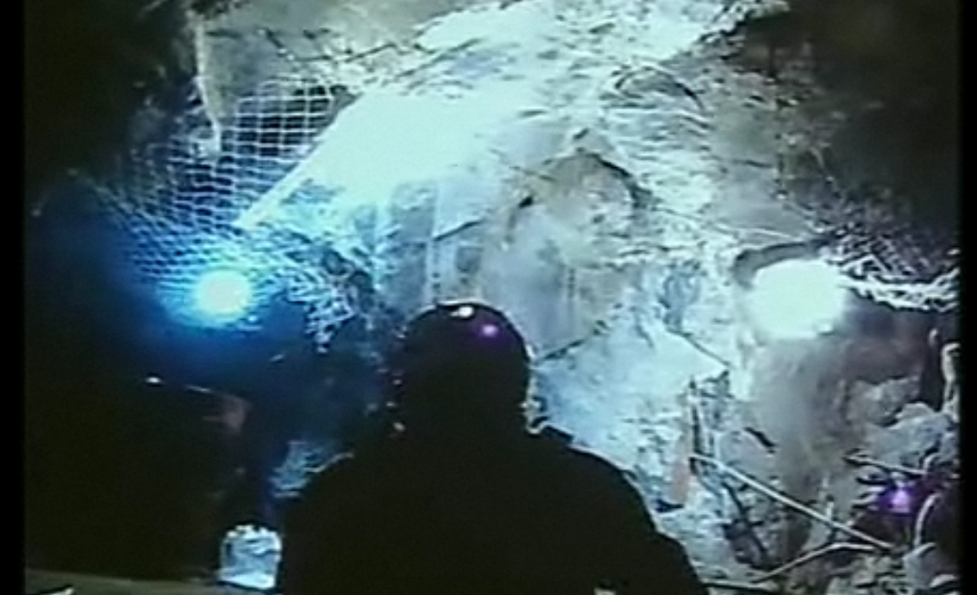 Screen shot of video from the Chilean mine.