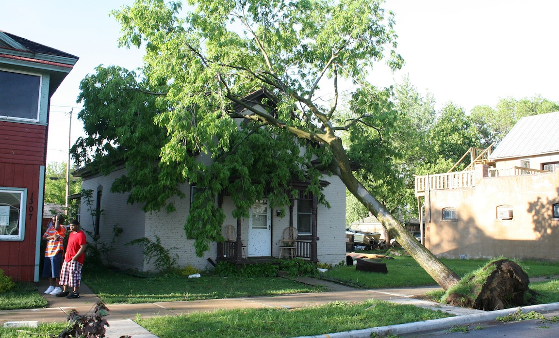 Tree into House - 1300 block Green Bay St.