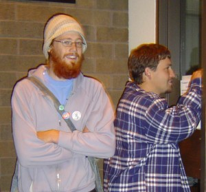 Red (aka Christopher Vogts) and another activist prepare to enter Senator Herb Kohl's office in La Crosse as part of International Peace Day in 2006.
