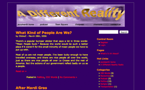 The earliest snapshot of the purplearth blog available on the Wayback Machine.