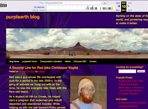 blog.purplearth.net, as it looked on March 10, 2013, as archived on the Wayback Machine.