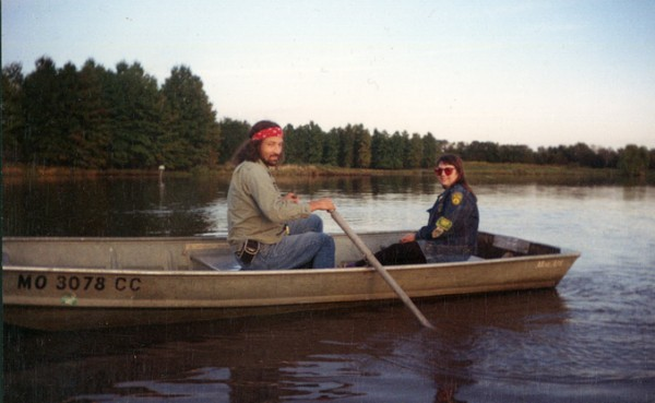 Obbie and RoZ take a little boat ride on a lake outside Kansas City, MO on October 1, 1993.